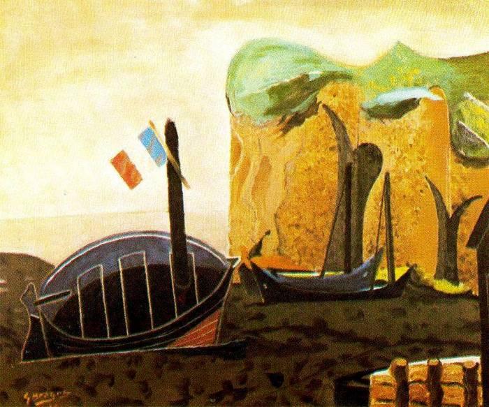 El bote de las banderas 1939 leo sobre lienzo - Baneras de obra ...